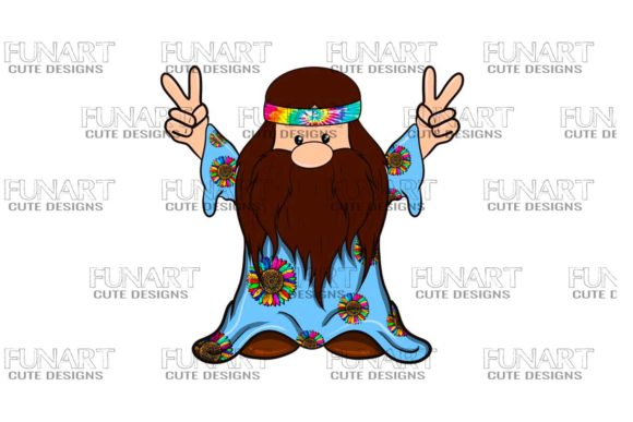 Hippie Peace Gnome 2 Degital File Graphic Illustrations By Fundesings
