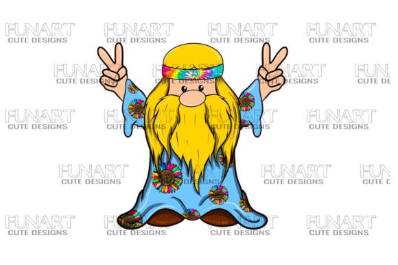Hippie Peace Gnome 3 Digital Design Graphic Illustrations By Fundesings