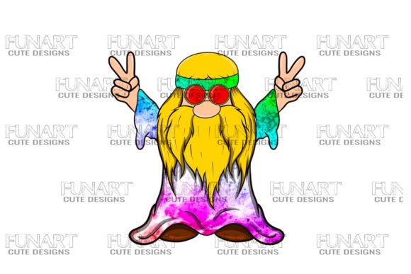 Hippie Peace Gnome 4 Digital Design Graphic Illustrations By Fundesings