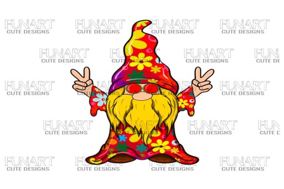Hippie Peace Gnome 5 Digital Design Graphic Illustrations By Fundesings
