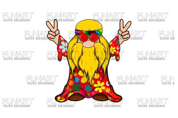 Hippie Peace Gnome  6 , Digital Design Graphic Illustrations By Fundesings
