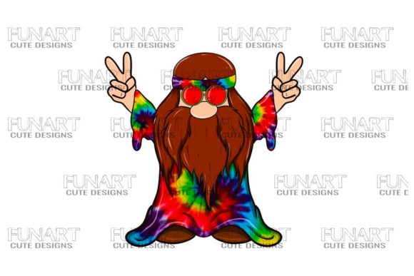 Hippie Peace Gnome 9 Digital Design Graphic Illustrations By Fundesings