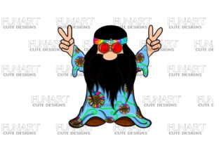 Hippie Peace Gnome , Digital Desing Graphic Illustrations By Fundesings