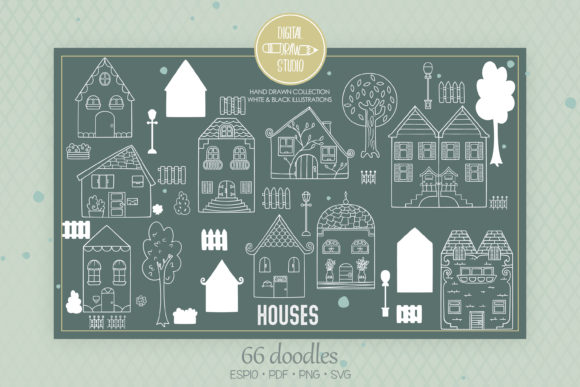 House White Home, City Building, Cottage Graphic Illustrations By Digital_Draw_Studio