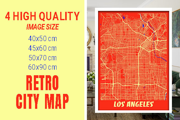 Los Angeles - Califonia Retro City Map Gráfico Fotografías Por pacitymap