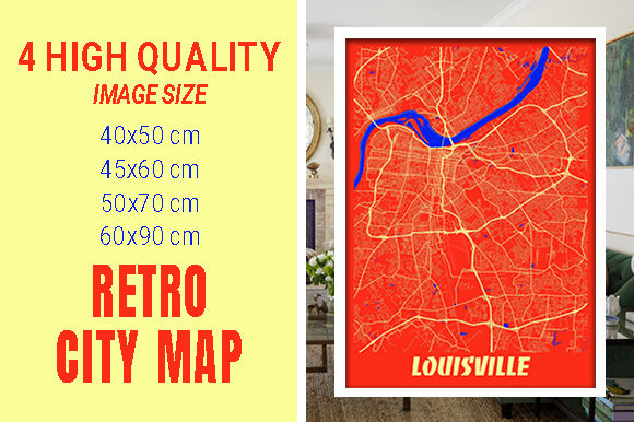 Louisville - Kentucky Retro City Map Gráfico Fotografías Por pacitymap