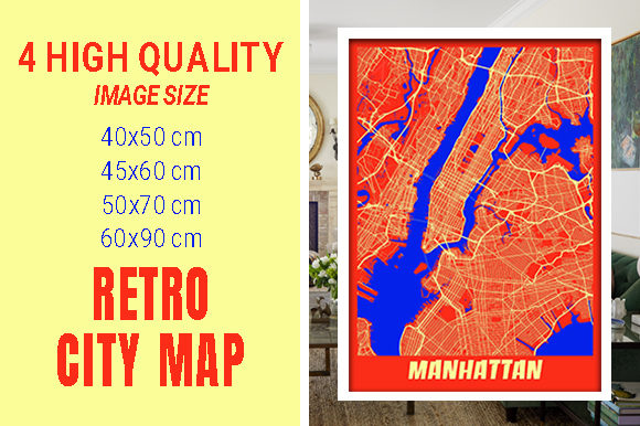 Manhattan - United States Retro City Map Gráfico Fotografías Por pacitymap
