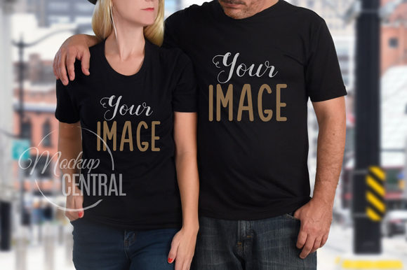 Matching Couple's T-Shirt Mockup JPG Graphic Product Mockups By Mockup Central