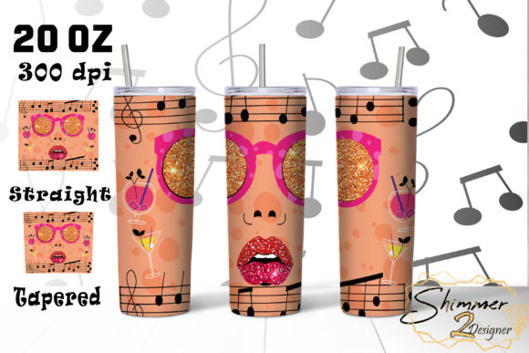 Print on Demand: Music Girl Tumbler Sublimation Glitter Graphic Print Templates By shimmer2designer