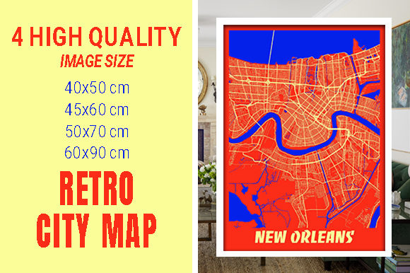 New Orleans - Louisiana Retro City Map Gráfico Fotografías Por pacitymap