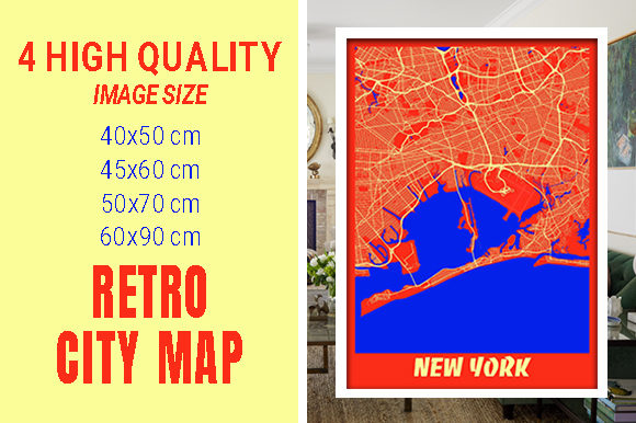 New York - United States Retro City Map Gráfico Fotografías Por pacitymap