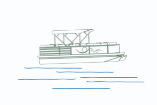 Outline Style Semi-Oblique Pontoon Boat Graphic Objects By faqeeh