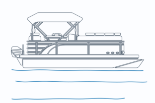Outline Style Side View Pontoon Boat Graphic Objects By faqeeh