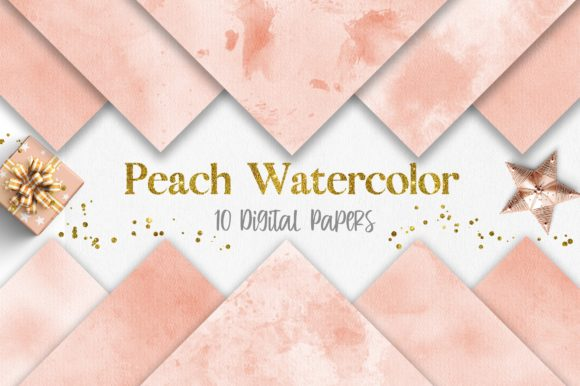 Peach Watercolor Texture Digital Papers Graphic Backgrounds By PinkPearly