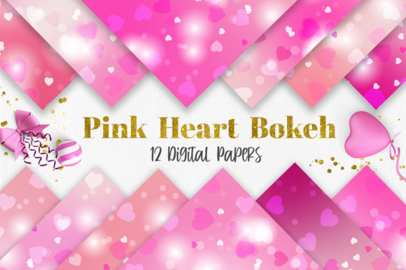 Pink Heart Bokeh Digital Papers Grafik Hintegründe von PinkPearly