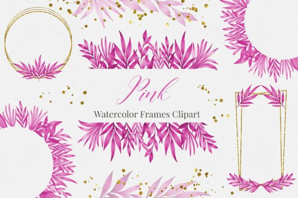 Pink Watercolor Leaves Frames Clipart Graphic Illustrations By PinkPearly