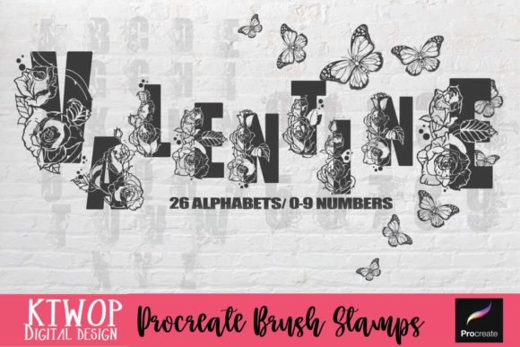 Print on Demand: Procreate Brush Stamps-Valentine Rose Graphic Brushes By KtwoP