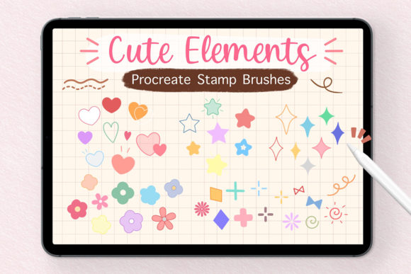 Procreate Stamp Brushes - Cute Elements Graphic Brushes By SoftPastel