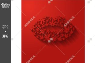 Red Lips with Weed Leaves Vector Graphic Illustrations By sashica designs