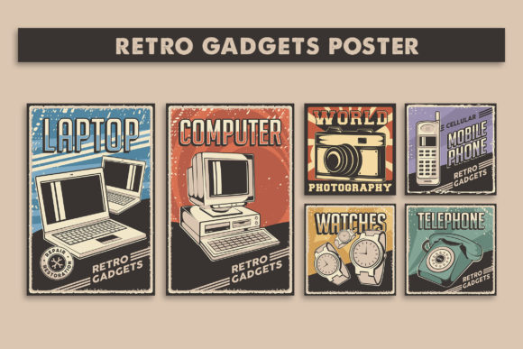 Retro Gadgets Poster Signage Set Graphic Illustrations By zullfikarilyas