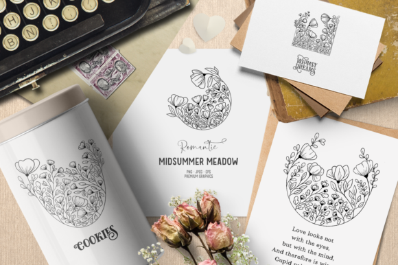 Print on Demand: Romantic Vintage Floral Digital Stamps Graphic Illustrations By Wallifyer