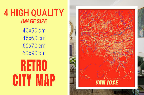 San Jose - Califonia Retro City Map Gráfico Fotografías Por pacitymap
