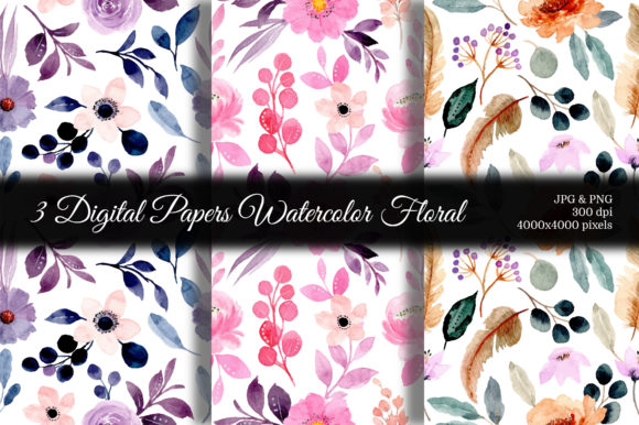 Print on Demand: Seamless Pattern Floral Watercolor 119 Graphic Backgrounds By asrulaqroni