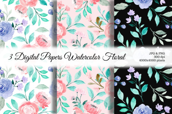 Print on Demand: Seamless Pattern Floral Watercolor 120 Graphic Backgrounds By asrulaqroni
