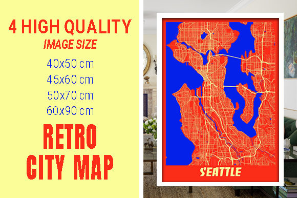 Seattle - United States Retro City Map Gráfico Fotografías Por pacitymap