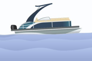 Side View Sport Arch Pontoon Boat Graphic Illustrations By faqeeh