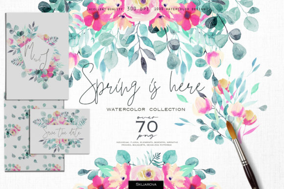 Spring is Here. Watercolor Collection. Graphic Illustrations By HappyWatercolorShop