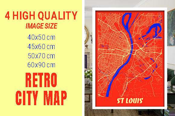 St Louis - Missouri Retro City Map Gráfico Fotografías Por pacitymap