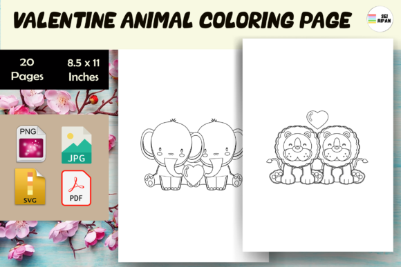 Print on Demand: Valentine Animal Coloring Page - KDP Graphic Coloring Pages & Books Kids By Sei Ripan