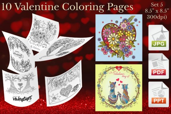 Valentine Coloring Pages Set 5 Graphic Coloring Pages & Books Adults By Webmark
