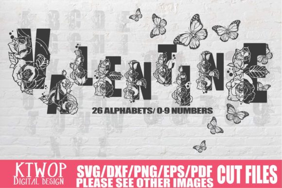 Print on Demand: Valentine Rose Alphabets and Numbers SVG Graphic Crafts By KtwoP