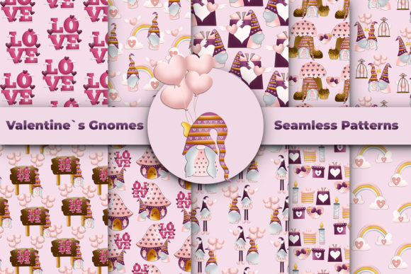 Print on Demand: Valentines Day Gnome Seamless Pattern Graphic Patterns By Andreea Eremia Design