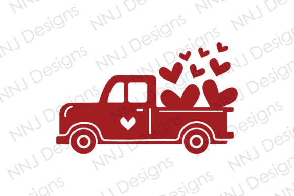 Print on Demand: Valentines Red Vintage Truck Graphic Illustrations By NNJ Designs