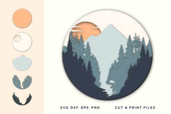 Wall Art 3D, Pine Tree SVG, Layered Graphic 3D SVG By 2dooart