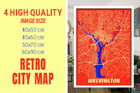 Washington - United States Retro City Gráfico Fotografías Por pacitymap