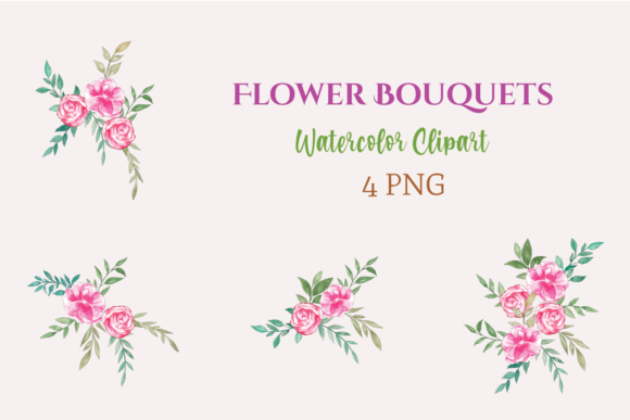 Watercolor Clipart Floral Bouquets Graphic Illustrations By roosmom