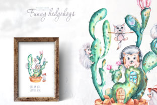Print on Demand: Watercolor Cute Hedgehogs and Cactus Graphic Illustrations By Tiana Geo