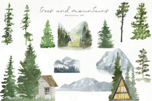 Print on Demand: Watercolor Forest Trees Graphic Illustrations By laffresco04