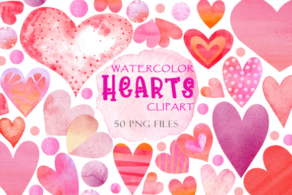 Print on Demand: Watercolor Hearts Clipart Valentines Day Graphic Illustrations By TanyaPrintDesign