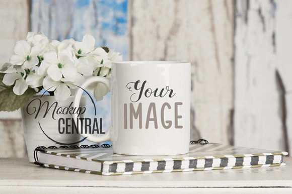 White Coffee Glass Cup Mockup on Desk Graphic