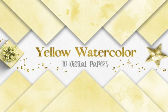 Yellow Watercolor Texture Digital Papers Graphic Backgrounds By PinkPearly