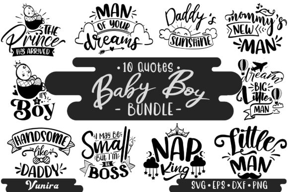 Print on Demand: 10 Baby Boy Bundle | Lettering Quotes Graphic Crafts By Vunira