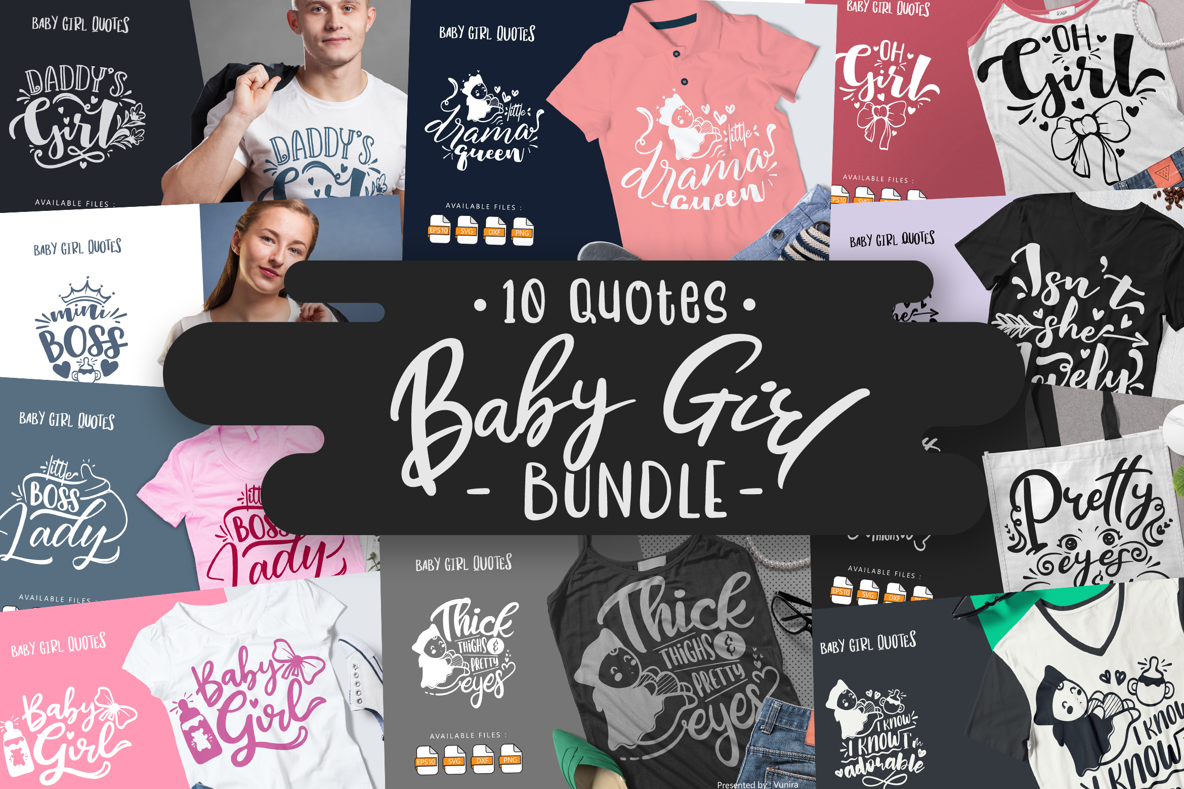 10 Baby Girl Bundle | Lettering Quotes SVG File