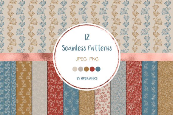 12 Delicate Flowers Botanical Patterns Graphic Patterns By GVGraphics