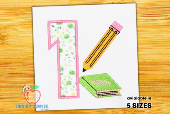 A Book with Pencil Near One Applique Back to School Embroidery Design By embroiderydesigns101
