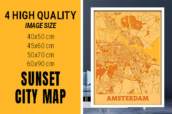 Amsterdam - Netherlands Sunset City Map Grafik Fotos von pacitymap